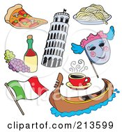 Royalty Free RF Clipart Illustration Of A Digital Collage Of Italian Items by visekart
