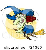 Clipart Illustration Of A Green Witch With Red Hair And A Hairy Wart On Her Nose Flying In Front Of A Full Moon On A Broom Stick