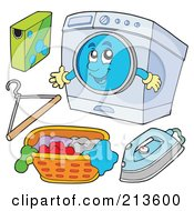 Royalty Free RF Clipart Illustration Of A Digital Collage Of Digital Collage Of A Washing Machine Character And Laundry