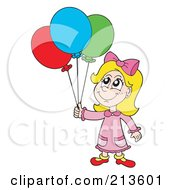 Royalty Free RF Clipart Illustration Of A Blond Birthday Girl With Balloons