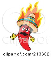 Royalty Free RF Clipart Illustration Of A Flaming Mexican Chili Pepper Character
