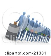 Clipart Illustration Of A Line Of Political Blue Voters Carrying Different Colored Envelopes And Waiting For Their Turn At The Ballot Box