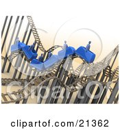 Clipart Illustration Of Blue People Riding On A Roller Coaster With A Mess Of Tracks