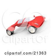 Futuristic Red Sports Car With The Wheels Sticking Out Far On The Sides
