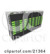 Row Of Four Green Web Hosting Racks Of Server Towers