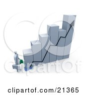 Businessman Carrying A Briefcase Pouring Water On A Bar Graph Two Increase Company Growth