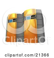 Two Web Hosting Racks Of Orange Server Towers
