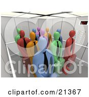 Clipart Illustration Of A Group Of Diverse And Colorful Blue Green Red Pink And Orange Corporate Businessmen Waiting Patiently In An Elevator