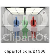 Diverse And Colorful Blue Green And Red Corporate Businessmen Standing With Briefcases In An Elevator