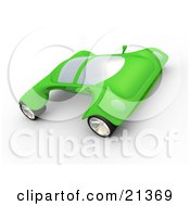 Clipart Illustration Of A Futuristic Green Sports Car With The Wheels Sticking Out Far On The Sides by 3poD