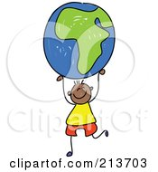 Royalty Free RF Clipart Illustration Of A Childs Sketch Of A Black Boy Holding Up An African Globe by Prawny