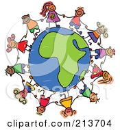 Royalty Free RF Clipart Illustration Of A Childs Sketch Of Children Holding Hands Around An African Globe