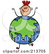 Royalty Free RF Clipart Illustration Of A Childs Sketch Of A Boy With An Asian Globe Body