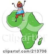 Royalty Free RF Clipart Illustration Of A Childs Sketch Of A Happy African Boy On Africa by Prawny