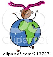 Royalty Free RF Clipart Illustration Of A Childs Sketch Of A Happy Girl With An African Globe Body