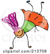 Royalty Free RF Clipart Illustration Of A Childs Sketch Of A Happy Girl Doing A Hand Stand