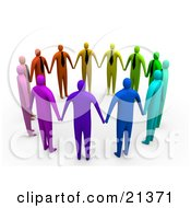 Clipart Illustration Of A Group Of Colorful And Diverse Corporate Businessmen Standing Hand In Hand In A Circle