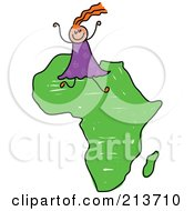 Royalty Free RF Clipart Illustration Of A Childs Sketch Of A Happy African Girl On Africa