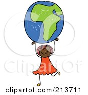 Royalty Free RF Clipart Illustration Of A Childs Sketch Of A Black Girl Holding Up An African Globe