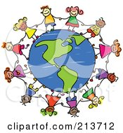 Royalty Free RF Clipart Illustration Of A Childs Sketch Of Children Holding Hands Around An American Globe by Prawny #COLLC213712-0089