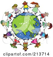 Royalty Free RF Clipart Illustration Of A Childs Sketch Of Children Holding Hands Around An Asian Globe