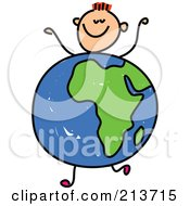 Royalty Free RF Clipart Illustration Of A Childs Sketch Of A Happy Boy With An African Globe Body
