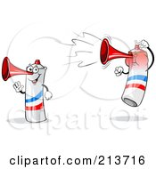 Royalty Free RF Clipart Illustration Of A Digital Collage Of A Waving And Jumping Loud French Air Horn by Holger Bogen