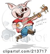 Royalty Free RF Clipart Illustration Of A Happy Pig Jumping And Picking A Banjo by Holger Bogen