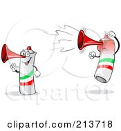 Royalty Free RF Clipart Illustration Of A Digital Collage Of A Waving And Jumping Loud Italian Air Horn