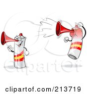 Royalty Free RF Clipart Illustration Of A Digital Collage Of A Waving And Jumping Loud Spain Air Horn