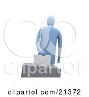 Clipart Illustration Of A Blue Figure Putting Their Voting Envelope In The Slot Of The Ballot Box