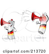 Royalty Free RF Clipart Illustration Of A Digital Collage Of A Waving And Jumping Loud German Air Horn by Holger Bogen