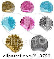 Digital Collage Of Glittery Metallic Round And Burst Sticker Labels