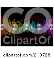 Royalty Free RF Clipart Illustration Of Sparkly Disco Balls With Colorful Equalizer Waves On Black by elaineitalia