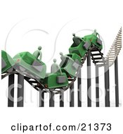 Bumpy Green Roller Coaster Transporting Green Businessmen With Briefcases