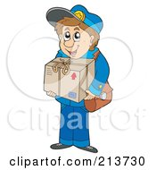 Royalty Free RF Clipart Illustration Of A Mail Man Carrying A Parcel by visekart
