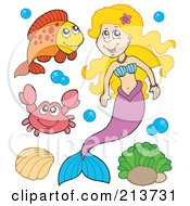 Royalty Free RF Clipart Illustration Of A Digital Collage Of A Blond Mermaid With A Fish Crab And Shell by visekart