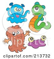 Royalty Free RF Clipart Illustration Of A Digital Collage Of Cute Monsters 3