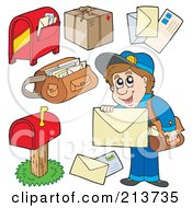 Royalty Free RF Clipart Illustration Of A Digital Collage Of A Mail Man And Mail by visekart