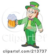 Royalty Free RF Clipart Illustration Of A Leprechaun Standing And Holding Out Beer by visekart