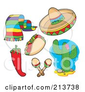 Royalty Free RF Clipart Illustration Of A Digital Collage Of A Scarf Taco Chili Pepper Sombrero Maracas And Cactus by visekart