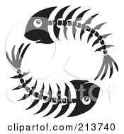 Royalty Free RF Clipart Illustration Of A Circle Of Black And White Fish Bones