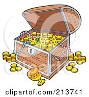 Royalty Free RF Clipart Illustration Of An Open Full Treasure Chest