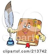 Royalty Free RF Clipart Illustration Of A Book Character With A Feather Quill