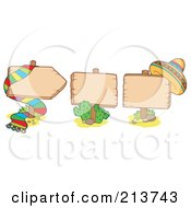 Royalty Free RF Clipart Illustration Of A Digital Collage Of Blank Mexican Wooden Signs by visekart