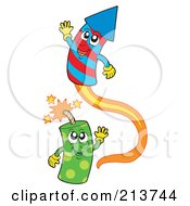 Royalty Free RF Clipart Illustration Of Happy Green And Red And Blue Fireworks