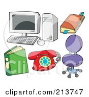 Royalty Free RF Clipart Illustration Of A Digital Collage Of A Computer With A Notebook Binder Phone And Chair by visekart