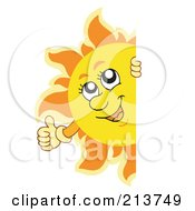 Royalty Free RF Clipart Illustration Of A Happy Summer Sun Holding A Thumb Up And Looking Around A Blank Sign
