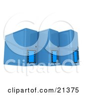 Clipart Illustration Of Three Blue Computer Tower Servers Over White by 3poD