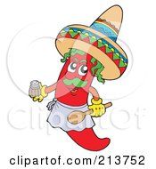 Male Mexican Chili Pepper Holding A Spoon And Salt Shaker